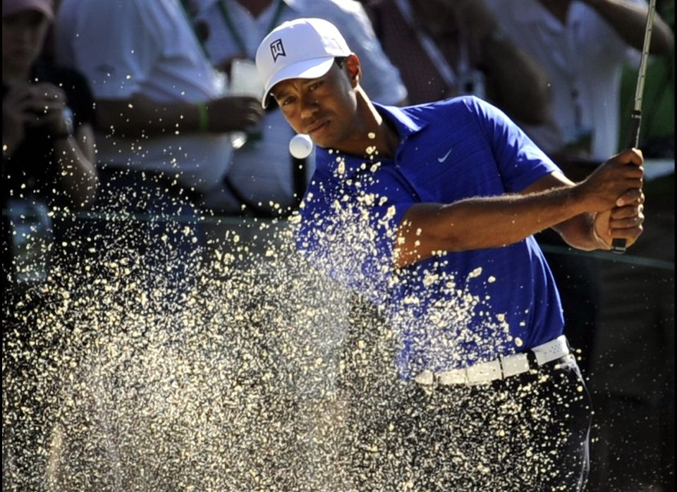 Tiger Woods during a practice round prior to the start of the 2012 Masters Tournament at Augusta National Golf Club on April