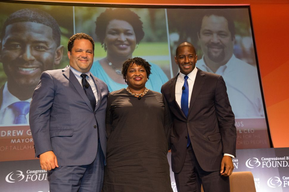 "Democratic gubernatorial nominees Ben Jealous (Maryland), Stacey Abrams (Georgia) and Andrew Gillum (Florida) at a ""Politics"