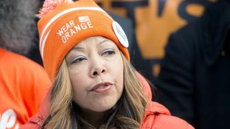NEW YORK, NY - JANUARY 15:  Lucy McBath speaks during the 6th Annual New York Peace Week Press Conference at City Hall on January 15, 2016 in New York City.  (Photo by Mike Pont/WireImage)