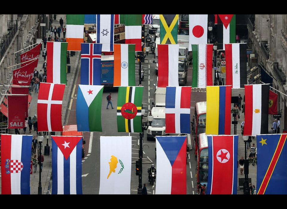 Regent Street Installs National Flags Ahead Of The Olympics.  <br> Flags of 200 nations are displayed on Regent Street on J