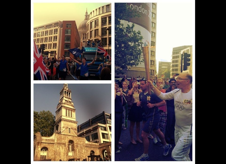 The Olympic Flame passing through London...