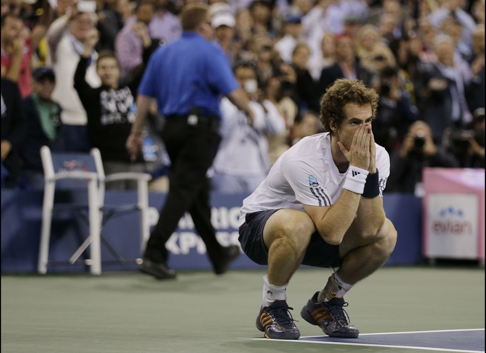 Britain's Andy Murray reacts after beating Serbia's Novak Djokovic in the championship match at the 2012 US Open tennis tourn