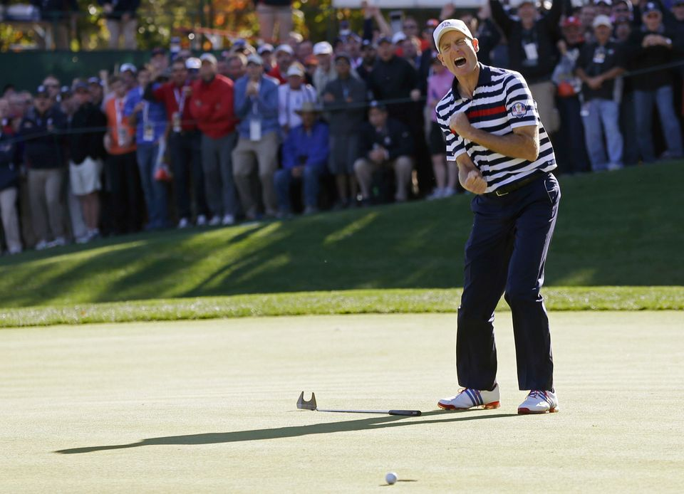 USA's Jim Furyk reacts after missing a putt on the 16th hole during a singles match at the Ryder Cup PGA golf tournament Sund