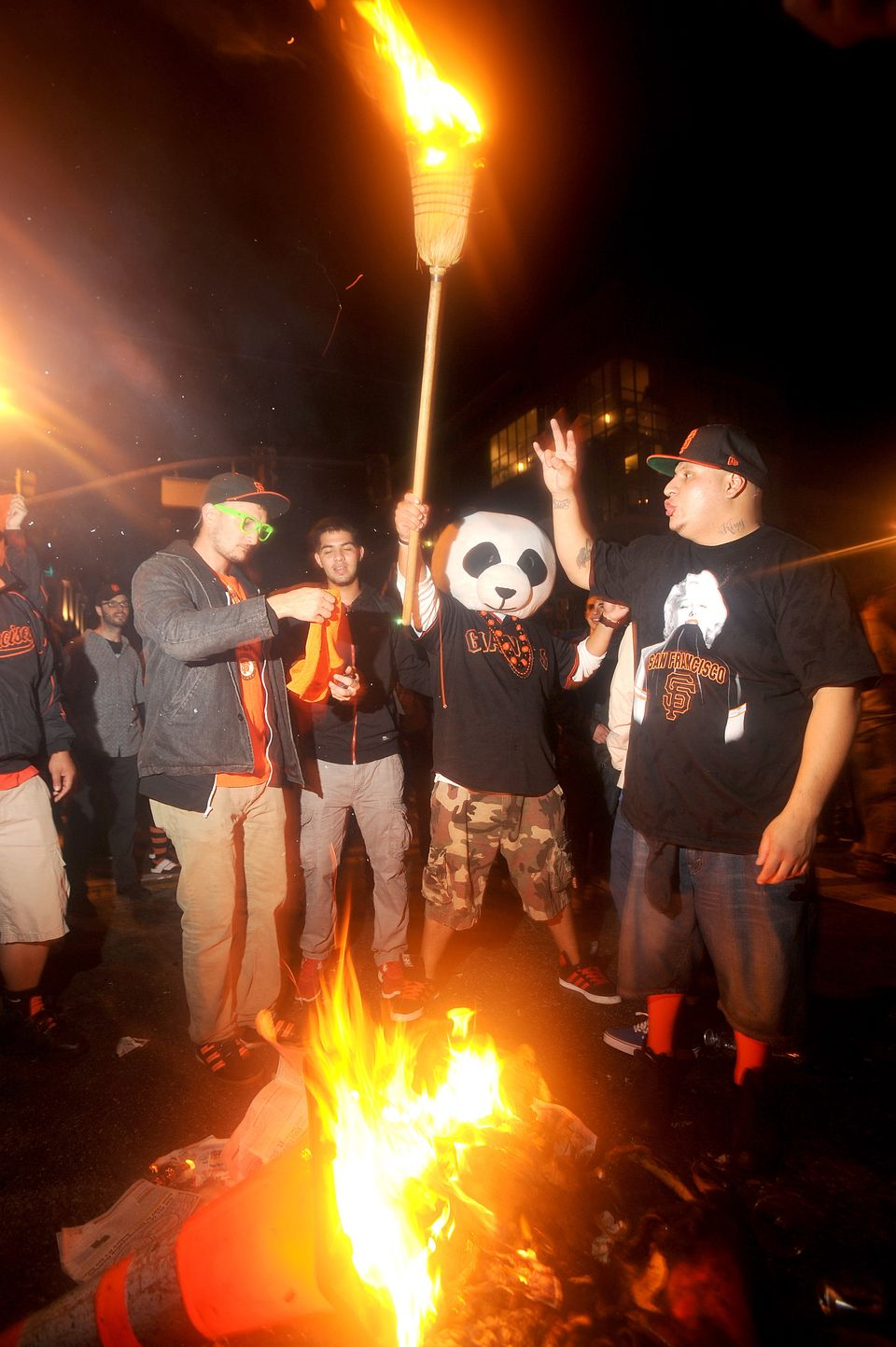 San Francisco Giants fans celebrate outside PacBell Park on Sunday, Oct. 28, 2012, in San Francisco after the Giants swept ba