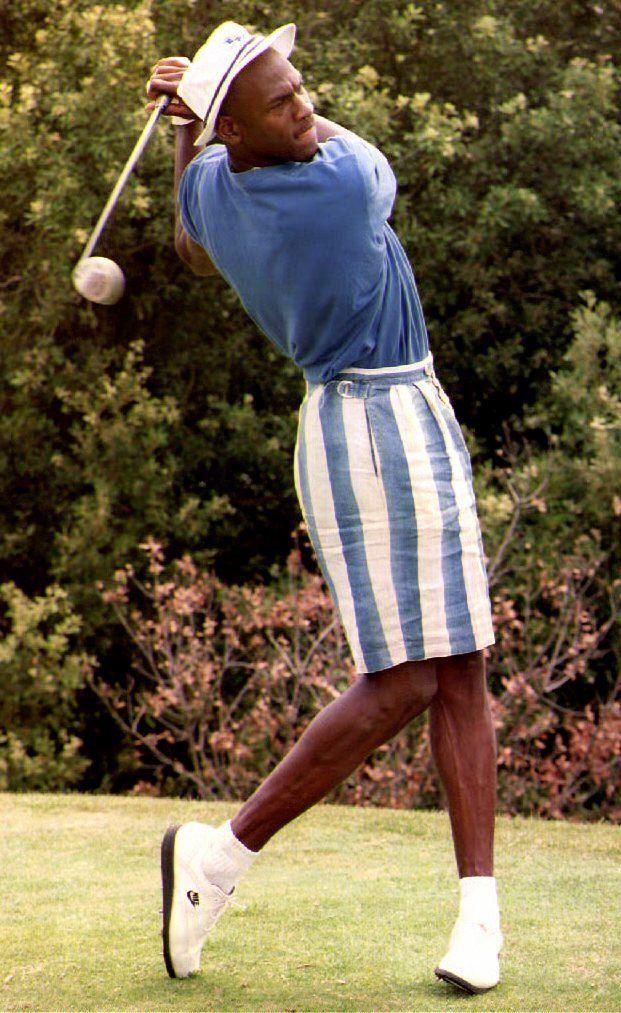 July 22, 1992: U.S. basketball player Michael Jordan swings a golf club at the Monte-Carlo Golf Club. (Jacques Soffer/AFP/Get