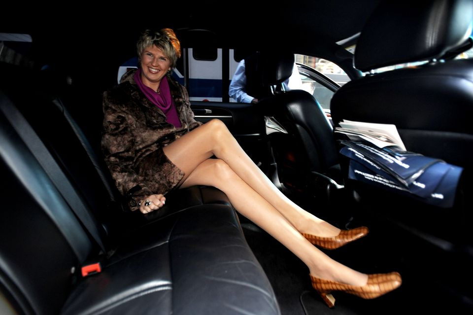 Svetlana Pankratova in Times Square to receive Guinness world record for the world's longest legs (52 inches). (Photo by Andr