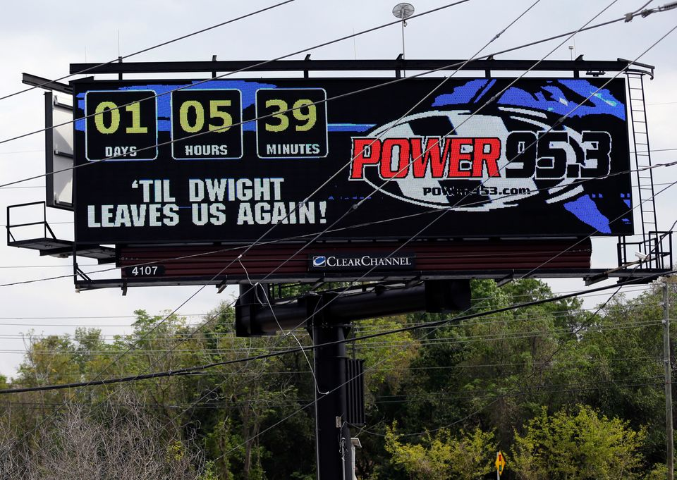 A billboard sponsored by an Orlando radio station displays a message in reference to former Orlando Magic NBA basketball play
