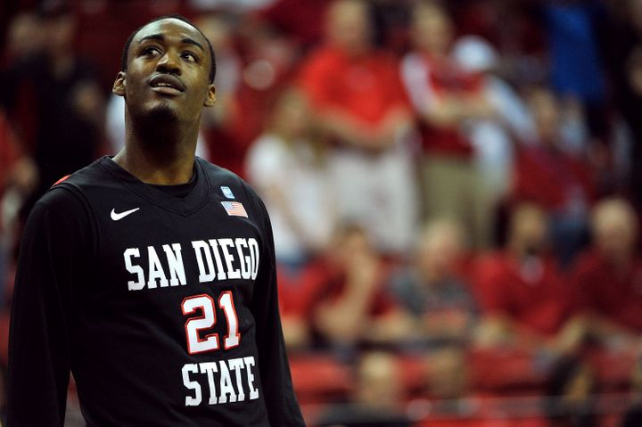 LAS VEGAS, NV - MARCH 15: Jamaal Franklin #21 of the San Diego State Aztecs looks to the scoreboard during the first half of