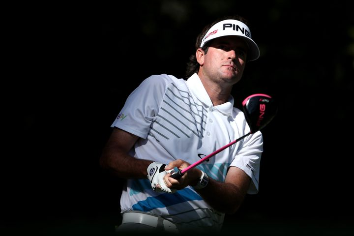 AUGUSTA, GA - APRIL 12:  Bubba Watson of the United States hits a a tee shot on the 11th hole during the second round of the