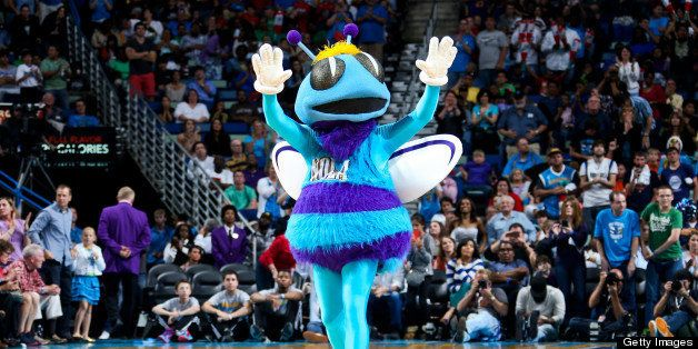 NEW ORLEANS, LA - APRIL 14: Hugo, mascot of the New Orleans Hornets, performs during a game against the Dallas Mavericks on A