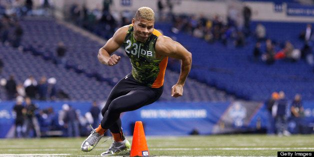 INDIANAPOLIS, IN - FEBRUARY 26: Tyrann Mathieu of LSU in action during the 2013 NFL Combine at Lucas Oil Stadium on February