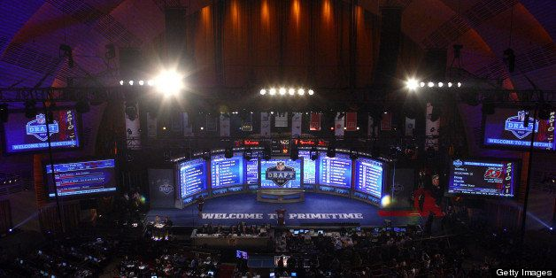 NEW YORK, NY - APRIL 26:  A detail of the video board and stage during the 2012 NFL Draft at Radio City Music Hall on April 2