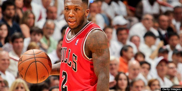 MIAMI, FL - MAY 6: Nate Robinson #2 of the Chicago Bulls controls the ball against the Miami Heat in Game One of the Eastern