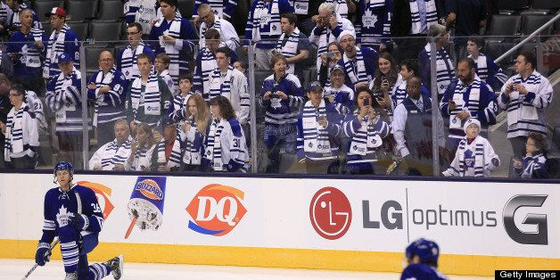 TORONTO, ON- MAY 6  -  The Leafs warmup in front of a blue and white crowd  as the Toronto Maple Leafs play the Boston Bruins