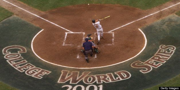 14 Jun 2001:  A Tennessee player hits the ball against Miami at the College World Series at Rosenblatt Stadium in Omaha, Nebr