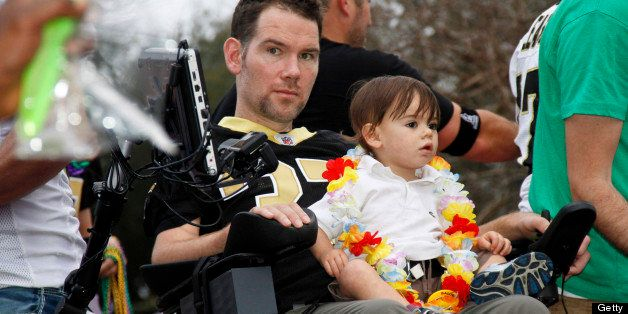 NEW ORLEANS, LA - FEBRUARY 10: Former NFL New Orleans Saints Safety, Steve Gleason with friends that started Team Gleason to