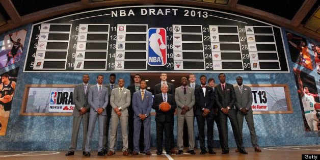 NEW YORK, NY - JUNE 27:  NBA Commissioner David Stern (C) poses with the 2013 NBA Draft Class including Nerlens Noel of Kentu