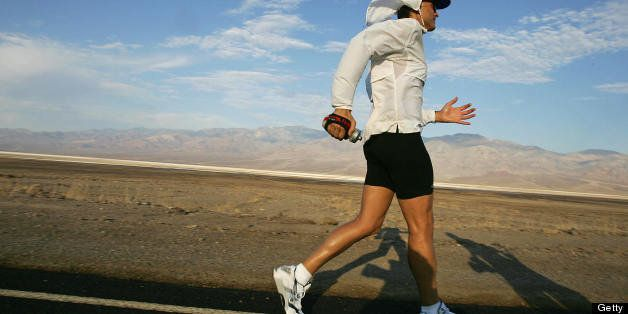 Death Valley, UNITED STATES:  Adam Bookspan, 40, of Florida, a professional Musician, sets his pace in the first miles of the