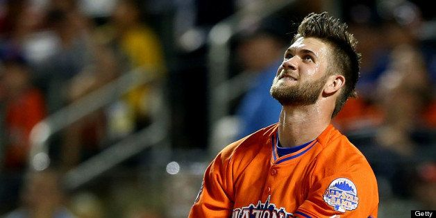 NEW YORK, NY - JULY 15:  Bryce Harper of the Washington Nationals bats during the Chevrolet Home Run Derby on July 15, 2013 a