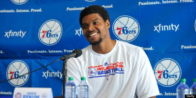 PHILADELPHIA, PA - August 15 :  Andrew Bynum #33 of the Philadelphia 76ers speaks to the media during a press conference afte