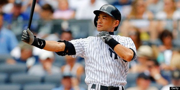 NEW YORK, NY - JULY 27:  Ichiro Suzuki #31 of the New York Yankees in action against the Tampa Bay Rays at Yankee Stadium on