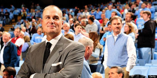 CHAPEL HILL, NC - NOVEMBER 30:  ESPN announcer Jay Bilas watches warm-ups before a game between the North Carolina Tar Heels