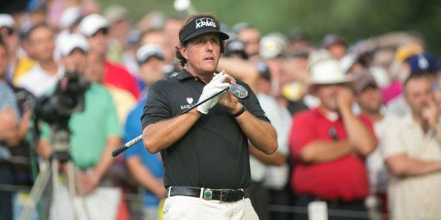 ROCHESTER, NY - AUGUST 8: Phil Mickelson of the United States watches his tee shot on 13 during the first round of play at th