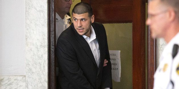 ATTLEBORO, MA - JULY 24: Aaron Hernandez entered the court room. Former New England Patriots tight end Aaron Hernandez appear