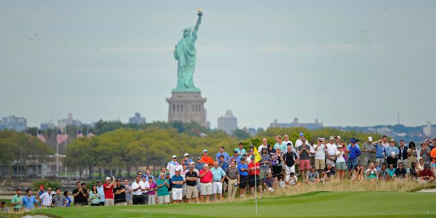 JERSEY CITY, NJ - AUGUST 23:  Fans watch the action on the second hole during the second round of The Barclays at Liberty Nat