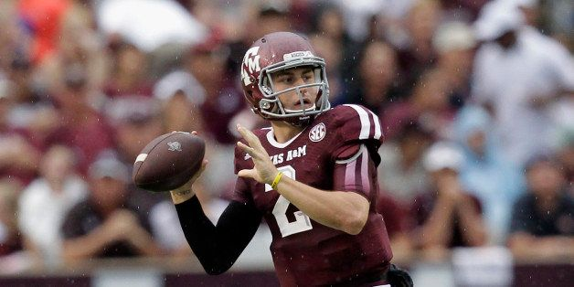 COLLEGE STATION, TX - SEPTEMBER 07:  Johnny Manziel #2 of the Texas A&M Aggies during game action against the Sam Houston Sta