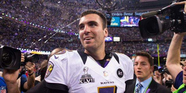 NEW ORLEANS, LA - FEBRUARY 03:  Joe Flacco #5 of the Baltimore Ravens celebrates after winning Super Bowl XLVII against the S