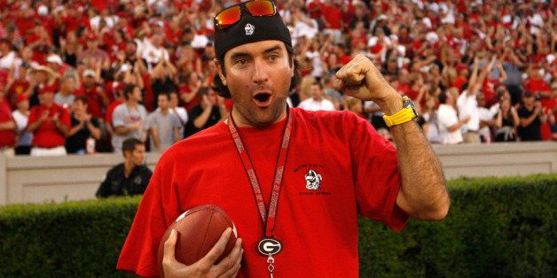 ATHENS, GA - SEPTEMBER 10:  PGA golfer Bubba Watson celebrates after a punt return by the Georgia Bulldogs during the game ag