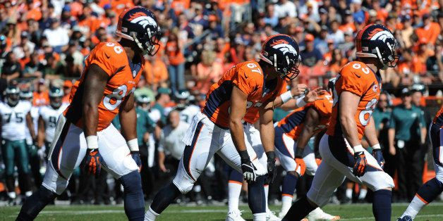DENVER, CO - SEPTEMBER 29: Denver Broncos  wide receivers Demaryius Thomas, Eric Decker and Wes Welker line up in a trips for