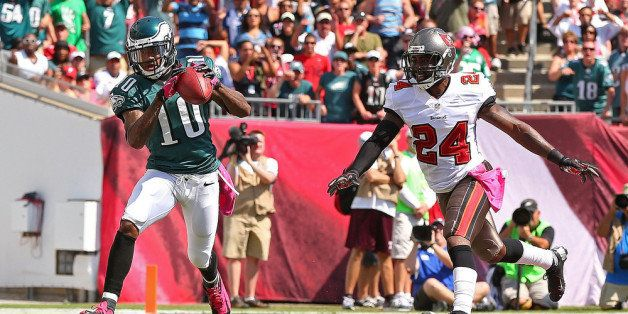 TAMPA, FL - OCTOBER 13: DeSean Jackson #10 of the Philadelphia Eagles catches a touchdown pass over Darrelle Revis #24 of the