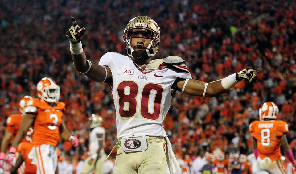 Florida State wide receiver Rashad Greene (80) celebrates after scoring a touchdown against the Clemson during the second hal