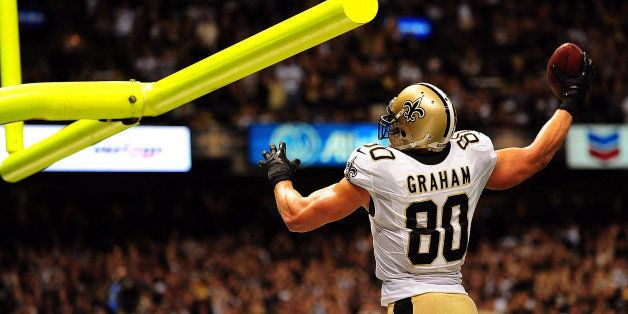 NEW ORLEANS, LA - SEPTEMBER 22:  Jimmy Graham #80 of the New Orleans Saints celebrates a touchdown against the Arizona Cardin