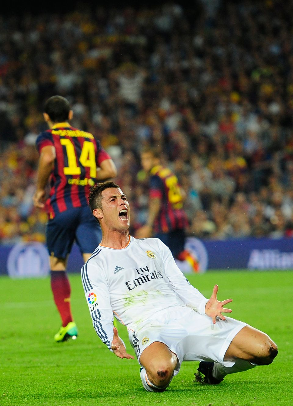 Real Madrid's Cristiano Ronaldo from Portugal reacts to a decision from the referee during the Spanish La Liga soccer match a