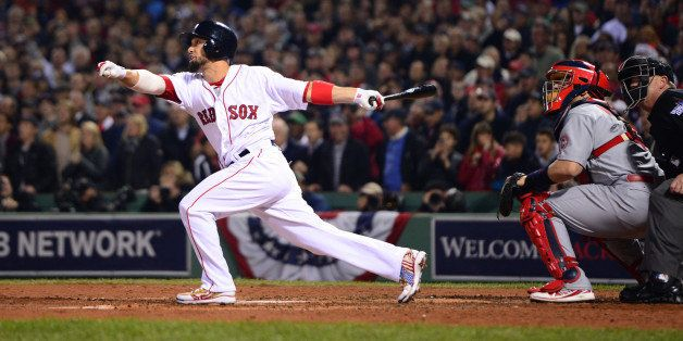 BOSTON, MA - OCTOBER 30: Shane Victorino #18 of the Boston Red Sox hits a three-run triple against the St. Louis Cardinals in