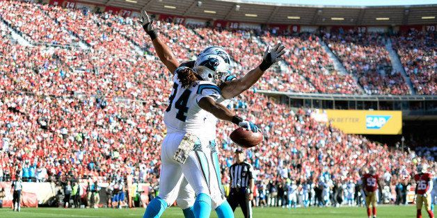 SAN FRANCISCO, CA - NOVEMBER 10:  DeAngelo Williams #34 and Nate Chandler #78 of the Carolina Panthers celebrate after Willia