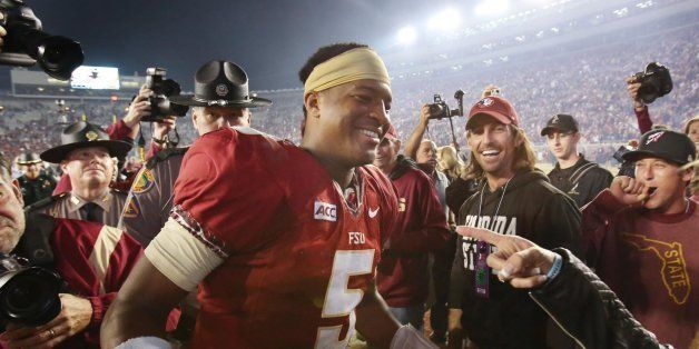 Florida State quarterback Jameis Winston celebrates after a 41-14 victory against Miami at Doak Campbell Stadium in Tallahass