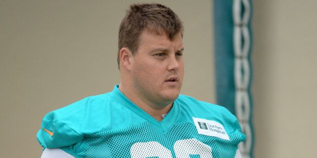 DAVIE, FL - JULY 21:  Richie Incognito #68 of the Miami Dolphins practices at the Miami Dolphins training facility on July 21