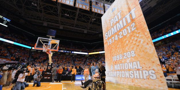 Knoxville, TN - January 28, 2013:  Pat Summitt during her banner raising ceremony before the game between Notre Dame Fighting