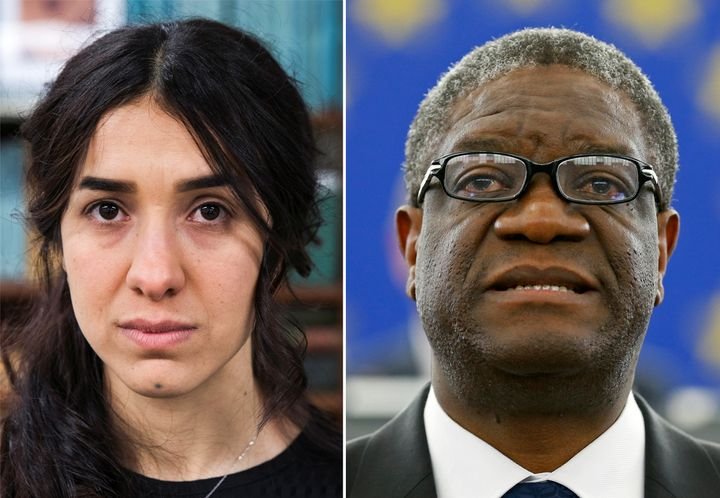 Nobel Peace Prize winners Nadia Murad, left, and Denis Mukwege.