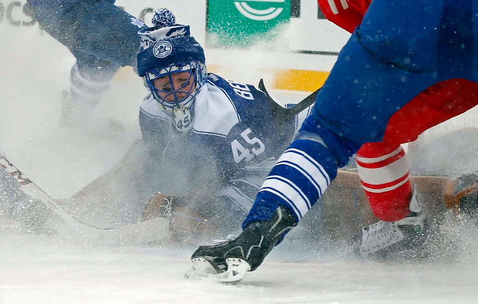 Toronto Maple Leafs goalie Jonathan Bernier (45) stops a shot on goal during the second period of the Winter Classic outdoor