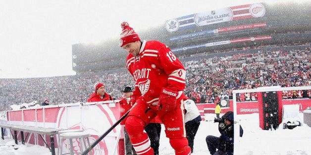 ANN ARBOR, MI - JANUARY 01: Pavel Datsyuk #13 of the Detroit Red Wings heads out onto the ice prior to the start of the 2014