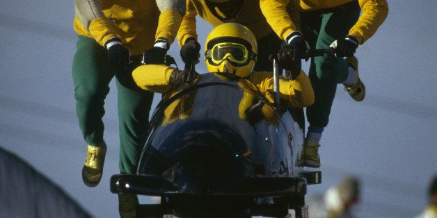 CALGARY - FEBRUARY 25:  The Jamaican four man bobsleigh team in action at the 1988 Calgary Winter Olympic Games held on Febru