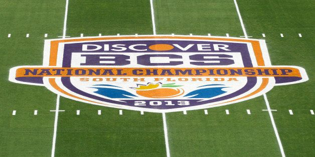 MIAMI GARDENS, FL - JANUARY 7:  A general view of the 2013 Discover BCS National Championship logo at midfield prior to the g