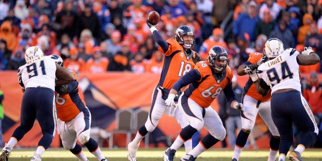 DENVER, CO - JANUARY 12: Denver Broncos quarterback Peyton Manning (18) throws during the second quarter. The Denver Broncos