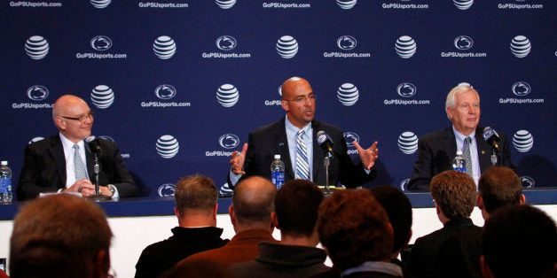 STATE COLLEGE, PA - JANUARY 11:  James Franklin, head coach of the Penn State Nittany Lions addresses the media between Dave