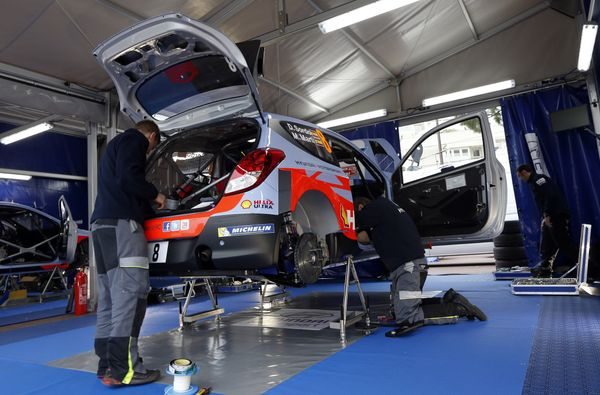 <br>Mecanics prepare the 'Hyundai Motorsport' car of Spanish driver Daniel Sordo and his Spanish co-pilot Marc Marti on Janua